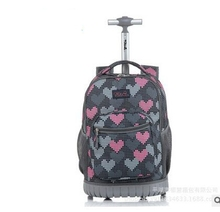 TILAMI Kinder Trolley Schulranzen kids Trolley-Rucksack 18 zoll Reisegepäck Rucksack mit Rollen Rucksack Für Mädchen