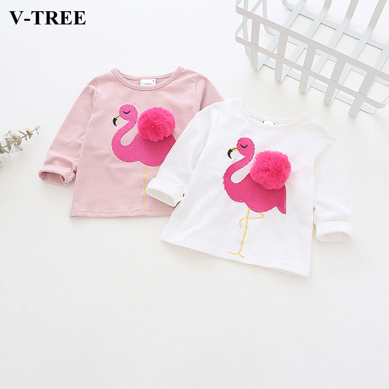 V-TREE Baby T-shirt Cotton Girl Tops Long Sleeved Baby Tee For Boys Girls Ruffle Blouse Clothing ruffle trim open shoulder dot blouse
