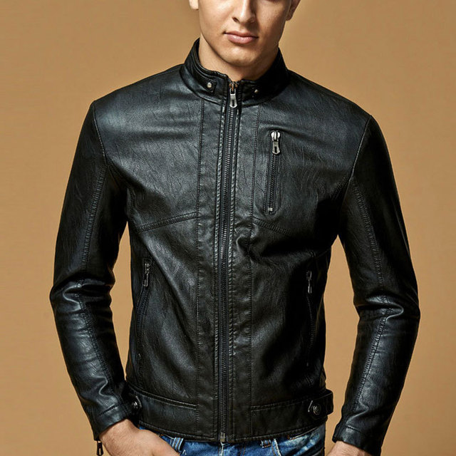 Leather Jacket Men Stand Collar Brand New Mens leather PU Jackets + Locomotive style Men's Slim Fit Leather Male Outerwear