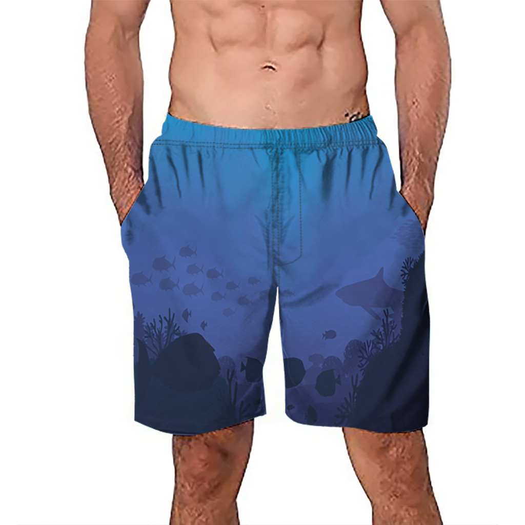 CHAMSGEND   Shorts   Men's   Board     Shorts   Surfing Trunks 3D Blue Sea Printing Patchwork Beach   Shorts   Swimwear Male   Short   Pants 5Feb.12