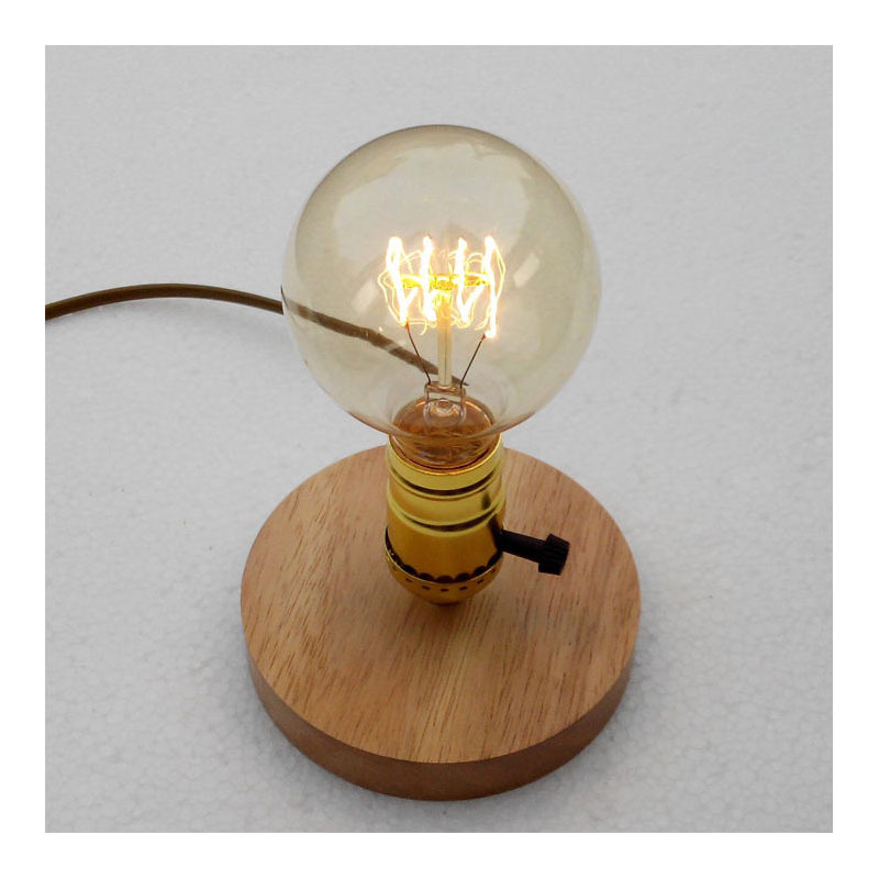 E27 E26 Loft Vintage Wood Table Lights