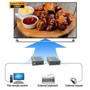 Image 2 - 2020 HD HDMI KVM hợp Qua TCP IP Hỗ Trợ HỒNG NGOẠI Mạng IP KVM Nối Dài USB HDMI 150M Qua UTP/STP RJ45 KVM Mở Rộng CAT5 CAT6