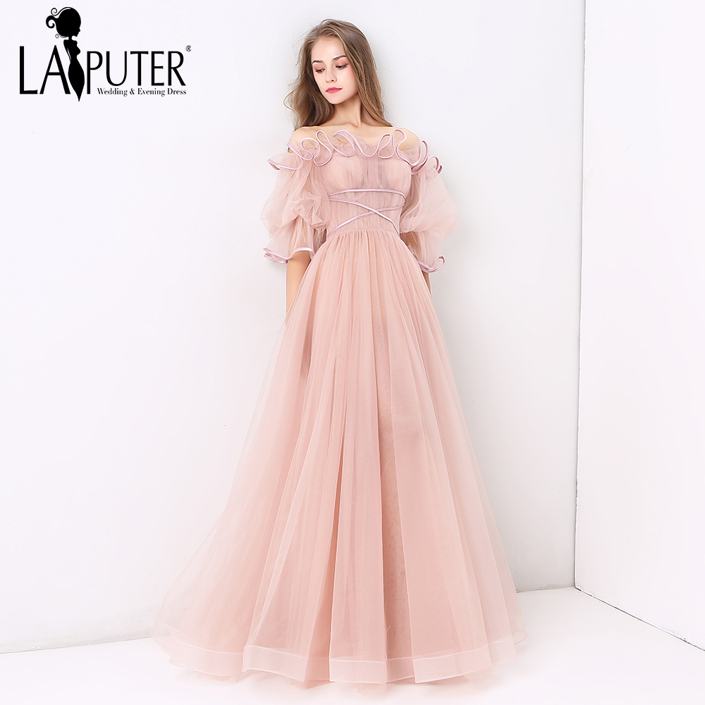 678a810842 US $165.0 |Laiputer 2018 Dusty Pink Boat Neck Middle Sleeves Amazing Cheap  Sexy See Through Long Evening Prom Dresses Custom Made-in Prom Dresses from  ...