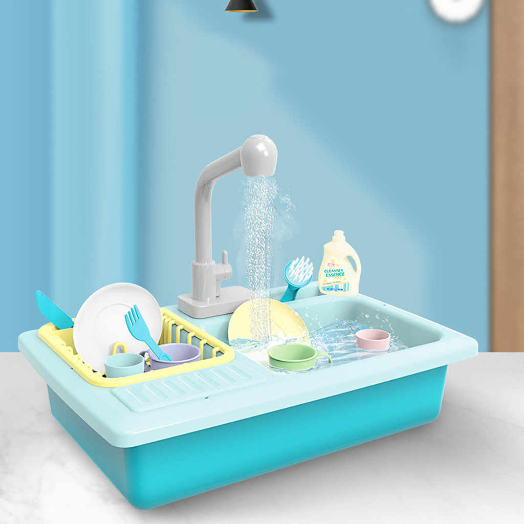 Color Changing Kitchen Sink Toys Children Heat Sensitive Thermochromic Dishwash Children's Cartoon Kitchen Toy Play House Toys