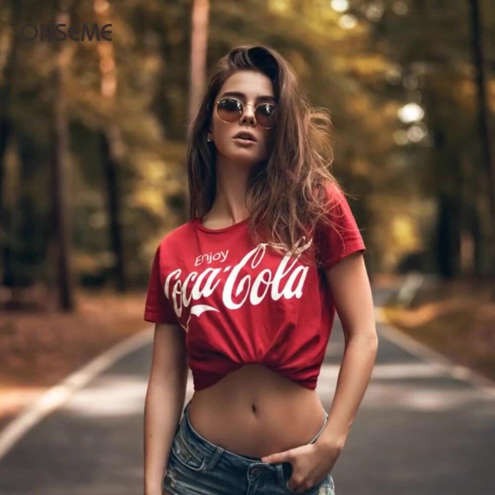 ONSEME camiseta femenina de Cola carta T Camisas de mujer Camiseta de algodón de verano básica suelto Tops Tee DIY de la gota nave A-01