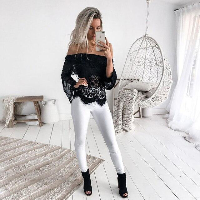 2019 New Women Slash Neck Tops Mesh Long Sleeve Patchwork Lace Ruffles Blouse Streetwear Party Shirts 1