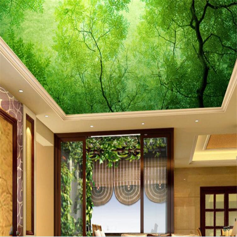 beibehang Custom large-scale high-definition aesthetic green fresh ancient tree 3D ceiling mural ceiling TV wallpaper