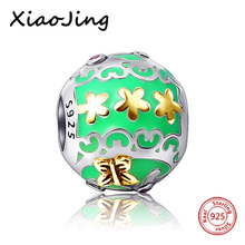 Original European Bracelets Flower Butterfly round charms silver 925 beads Jewelry Making for women Gifts Green color Enamel