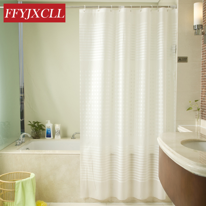 Simple White transparent stripes Waterproof Shower <font><b>Curtain</b></font> Bathroom Products Creative PEVA Bath <font><b>Curtain</b></font> Home Decoration