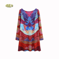 2017 Summer New Fashion Women Dress Full SLeeves Print Mini Dress O Neck Loose Style Large