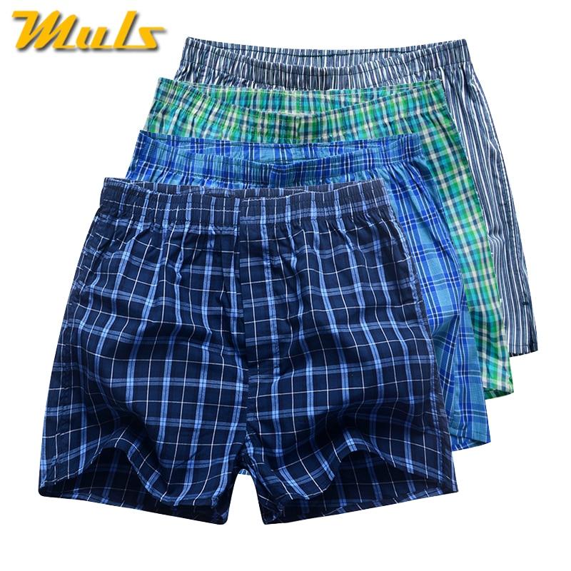 4Pcs/Lot Men Cotton Plaid Boxer Shorts Underwears High Quality Male Underpants Loose Comfortable Breathable Home Panties Cueca