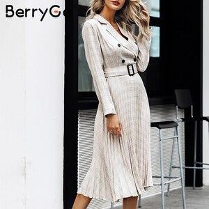 Image 4 - BerryGo Autumn winter women blazer dresses vestidos Pleated plaid long dress elegant Office ladies high waist belt female robe