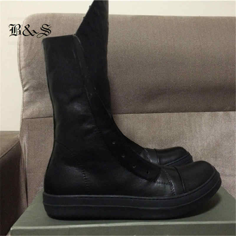 00b8f9a678ab3 Punk High Real Leather 2018 High-TOP Men Boots Long Tongue Street Real  Picture Hip