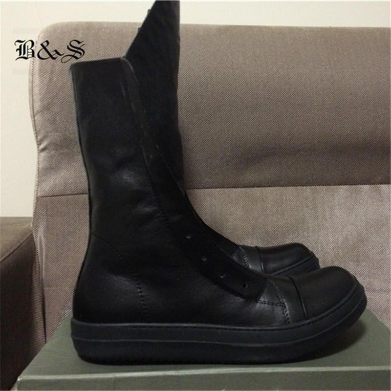 2018 Высокие Мужские ботинки в стиле панк из натуральной кожи с высоким берцем, повседневные ботинки в стиле хип хоп