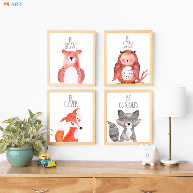 Canvas Painting Baby Animal Pictures Woodland Poster And Print Nursery Wall Art Kids Room Home