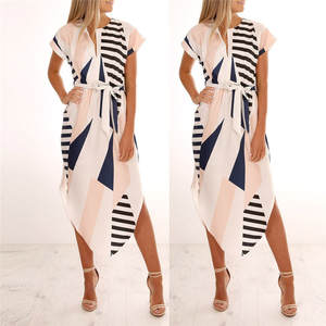 LNCDIS Summer Women Casual Printed Maxi Dress With Belt