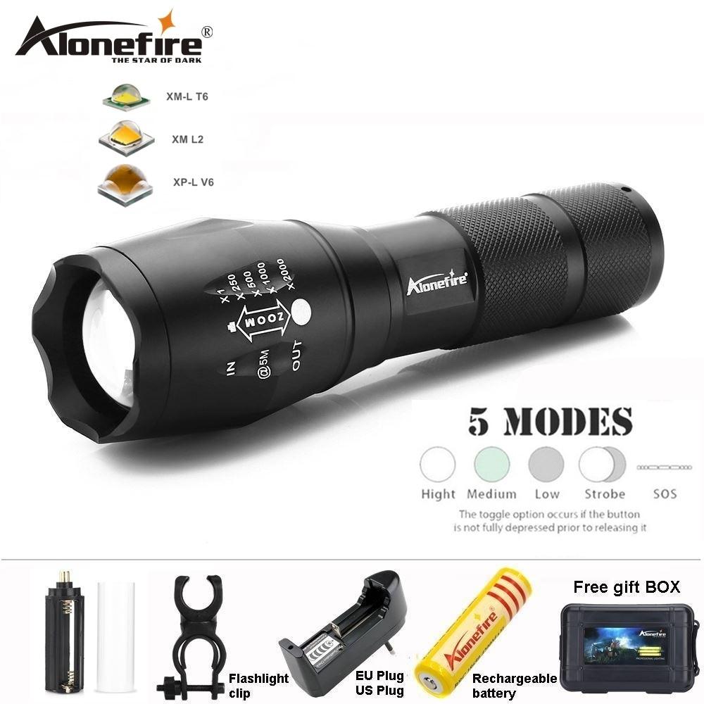 LED Flashlight Waterproof USB Rechargeable 18650 Battery 5 Mode Long Range Torch