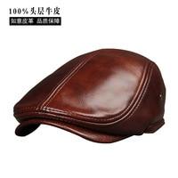 2017 New Arrival Genuine Cowhide Leather Hats Men's Adult Leather Cap Spring Autumn Winter Cotton Visor Caps B 7232