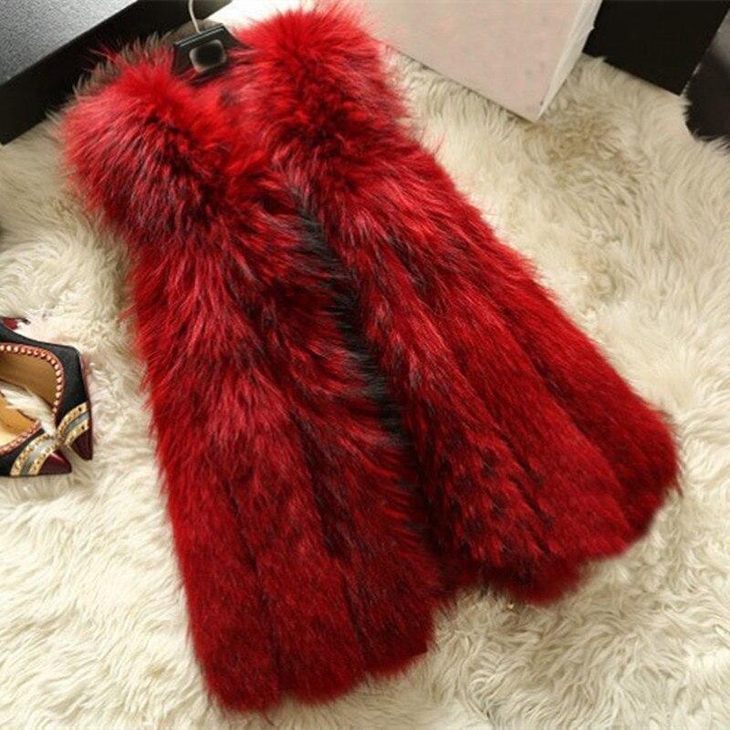 2016 Luxury Autumn Winter Genuine Real Raccoon Fur Vests Women Fur Waistcoat Female Trench Outerwear Gilet