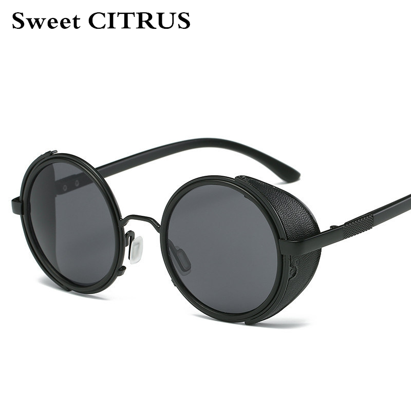 Sweet CITRUS Round Steampunk Sunglasses Men Women Brand Designer Sun glasses For Male UV400 Oculos de sol feminino Metal shades
