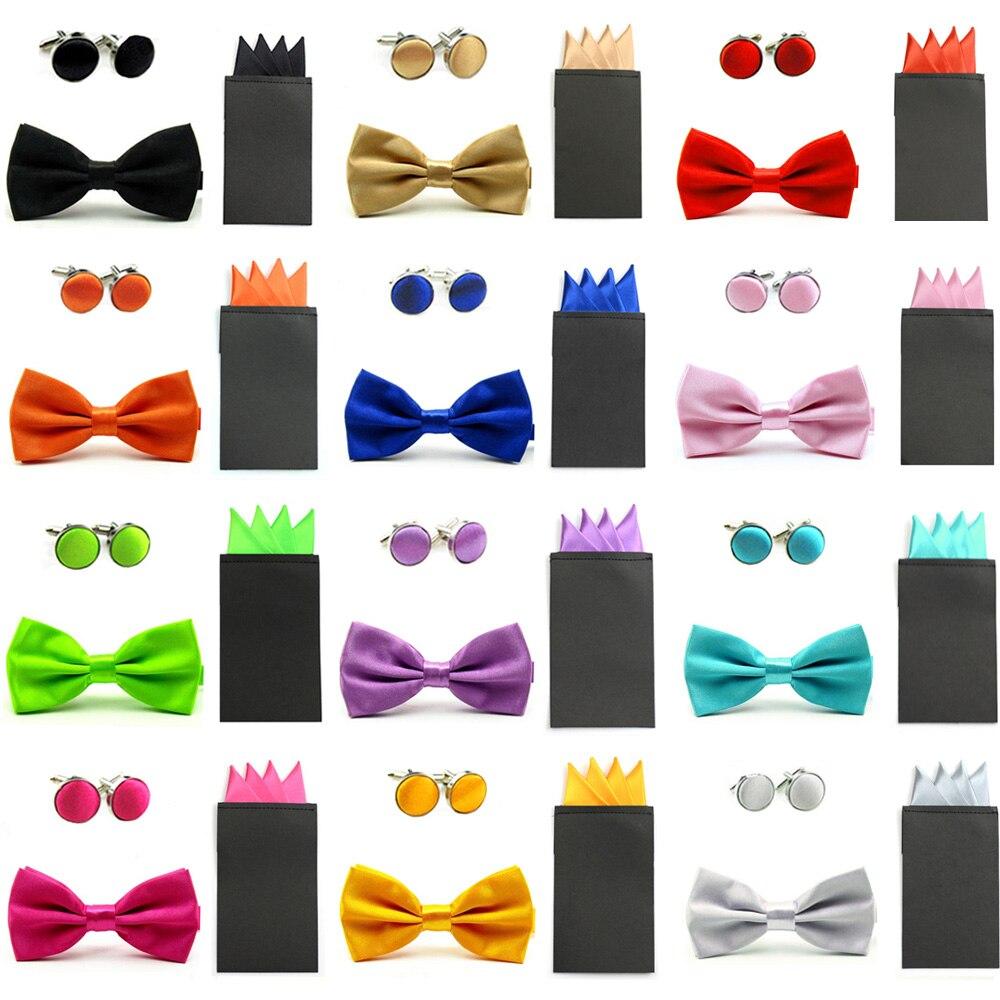 Men Solid Bow Ties Pre-folded 4 Point Handkerchief Pocket Square Cufflinks Set SETBW0040