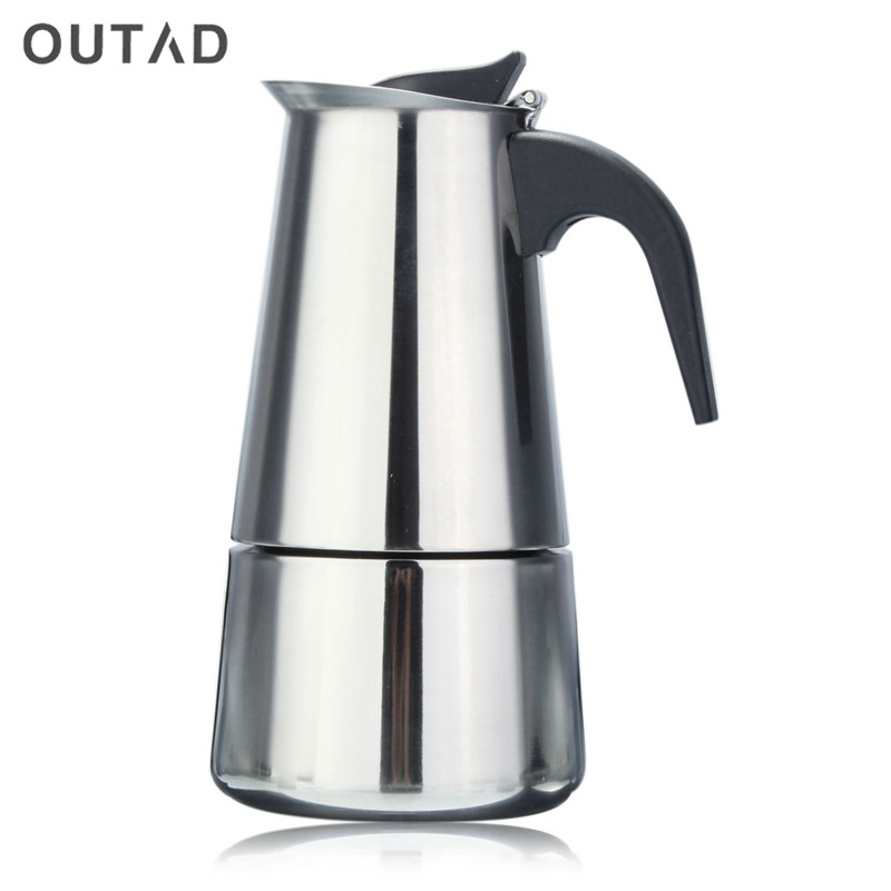 все цены на 2/4/6 cups Espresso Coffee Pots Stainless Steel Quality Drip Kettle Tea Pot Moka Coffe Pot Coffee Extractor 100/200/300ml