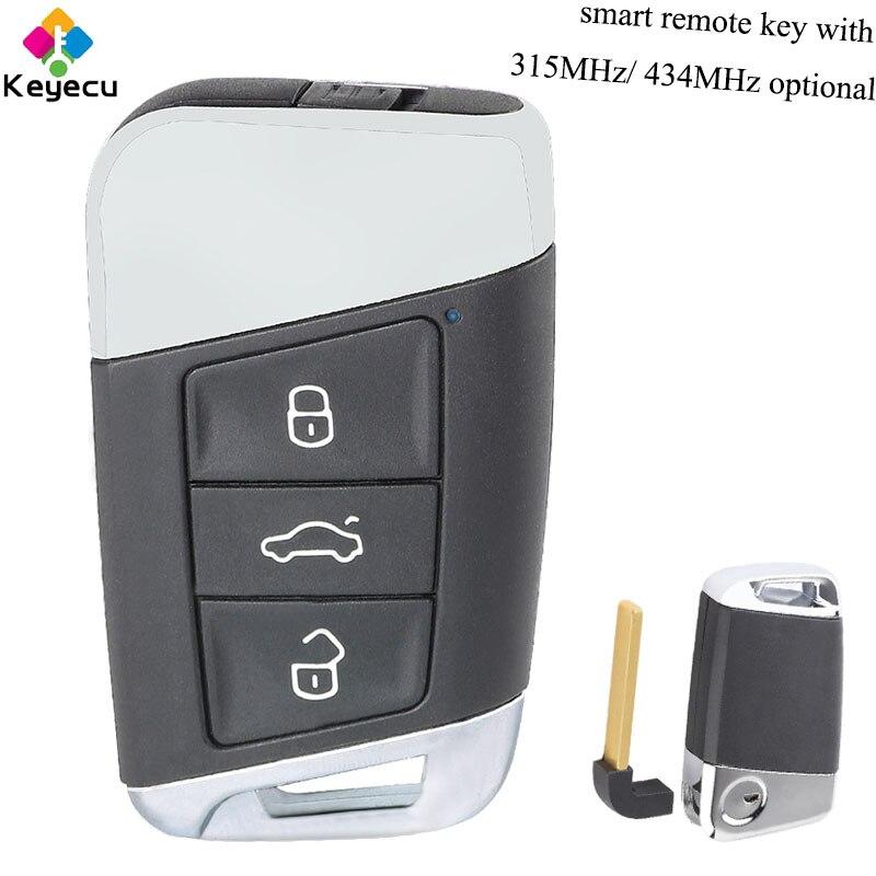 Clé à distance intelligente de remplacement KEYECU avec 3 boutons et 315 MHz/434 MHz-FOB pour Volkswagen Magotan superbe A7 Passat B8 2015-2018