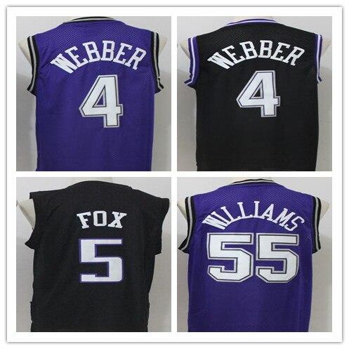 2017 newst Men's #4 Chris Webber 55 Jason Williams 5 DeAaron Fox Basketball jersey Throwback Jerseys Stitched Embroidery Retro 44 rev 30 44 pistol pete basketball jerseys