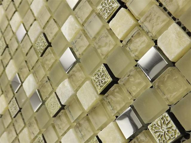 Quadrato giallo crystal clear glass misto white stone mosaico per la
