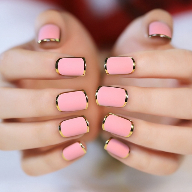 24pcs Frosted Pink Golden Metallic Color Edge Phnom Penh Fake Nail ...