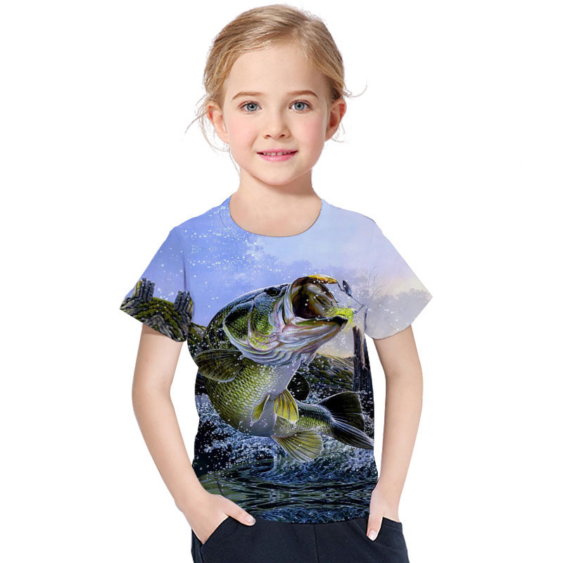 2019 Summer Boys T Shirt New 3d Print Casual Round Neck Children 39 s Short Sleeve T Shirt Beach Fish Pattern Kids Fashion Clothes in T Shirts from Mother amp Kids