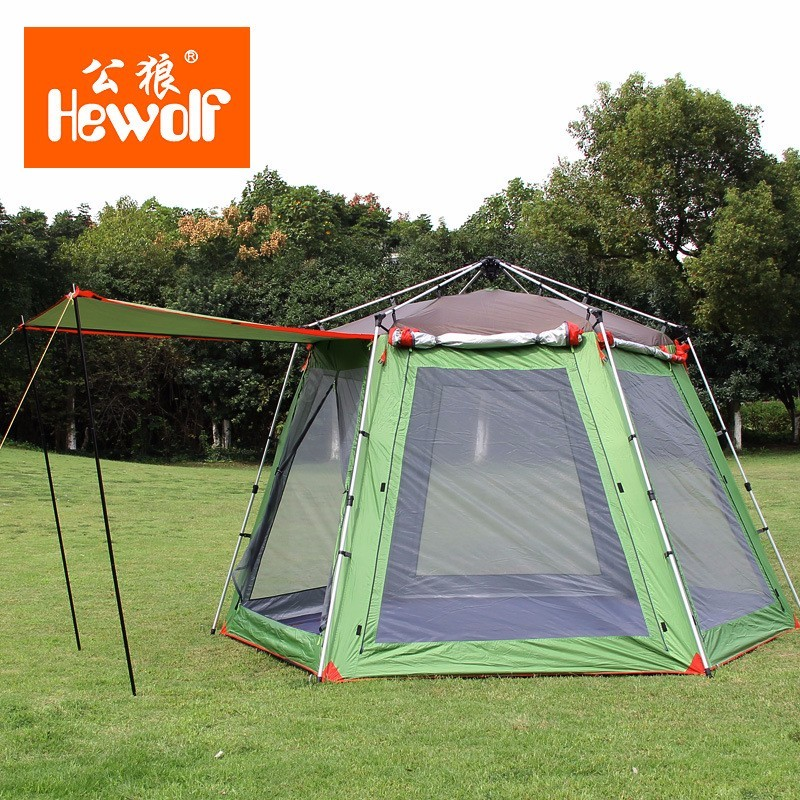 5-8 Person High Quality Windproof Waterproof Outdoors Hex Beach Automatic Tent Durable Family Camping Gear Party Marquee Tente high quality outdoor 2 person camping tent double layer aluminum rod ultralight tent with snow skirt oneroad windsnow 2 plus