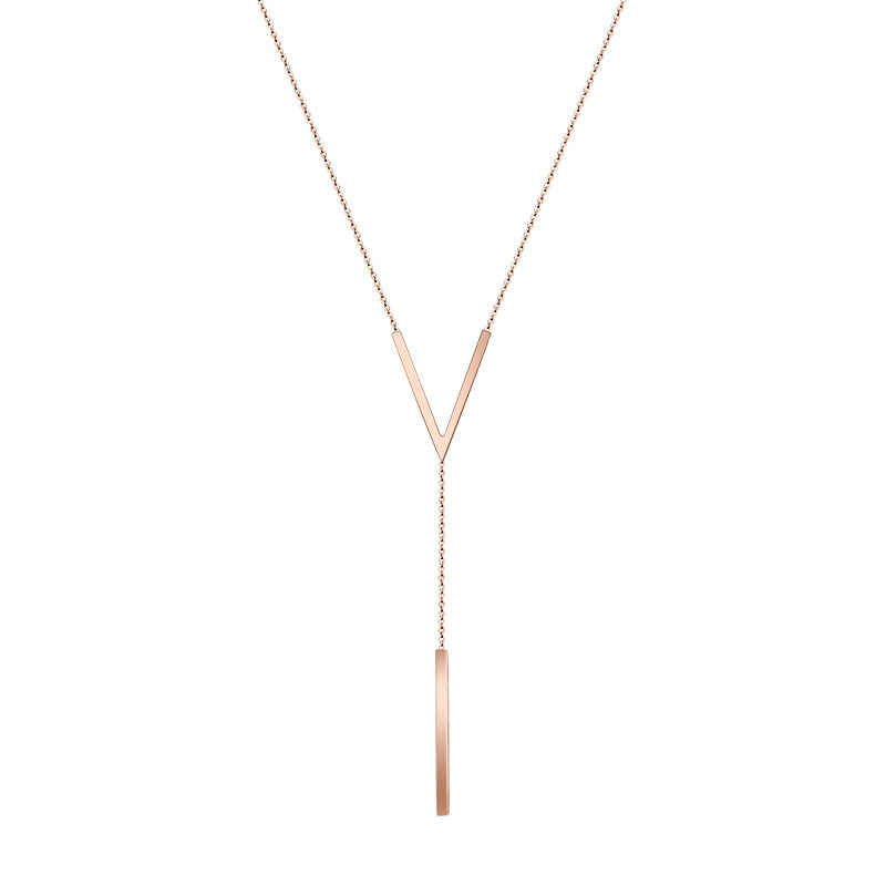 fb7f20cb0f Martick Europe Brand V-Shape With Round Bar Pendant Necklace Link Chain  Strip Necklace Popular