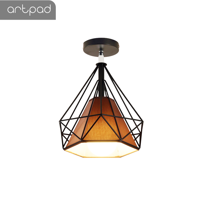 Artpad Vintage Ceiling Lights Black White Golden Loft Led Ceiling Lamp Geometric Shape Iron Cage Living Room Bedroom Home Led