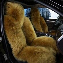 MUNIUREN Full Set Long Wool Car Seat Cover Universal Sheepskin Fur Seat Cushions Winter 100% Australia Wool Seat Covers 4pcs