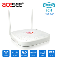Acesee 9CH 1920x1080P IP WIFI NVR Home Security Camera System H 265 Wireless ONVIF Surveillance Video