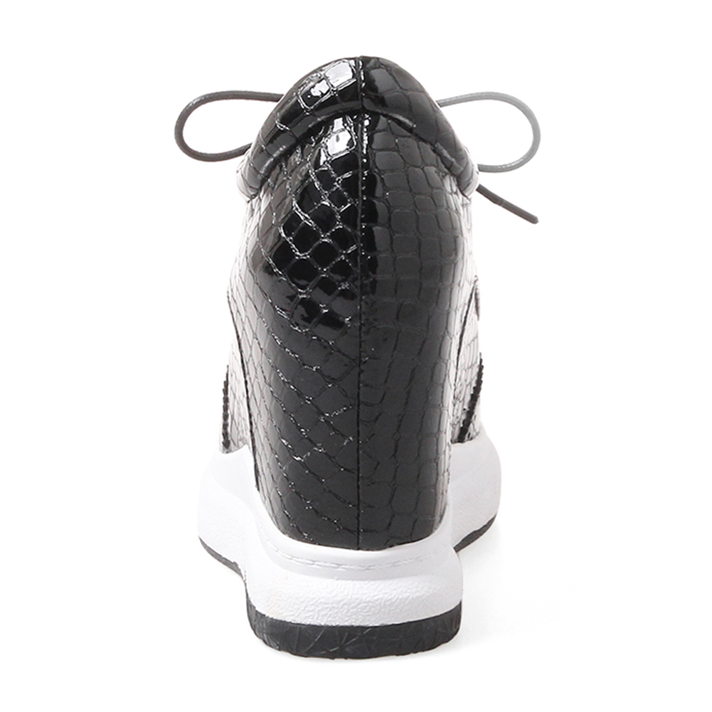 DORATASIA 2019 jesień nowy sztukateria trampki kobiety prawdziwej skóry sznurowane buty na koturnie kobieta wysokość zwiększenie rozmiar 31 40 w Damskie buty typu flats od Buty na  Grupa 3