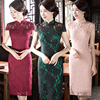 Shanghai Story New Arrival Chinese Womens Knee Leng Cheongsam Fashion Short Style Summer Qipao Lace Dress Vestidos