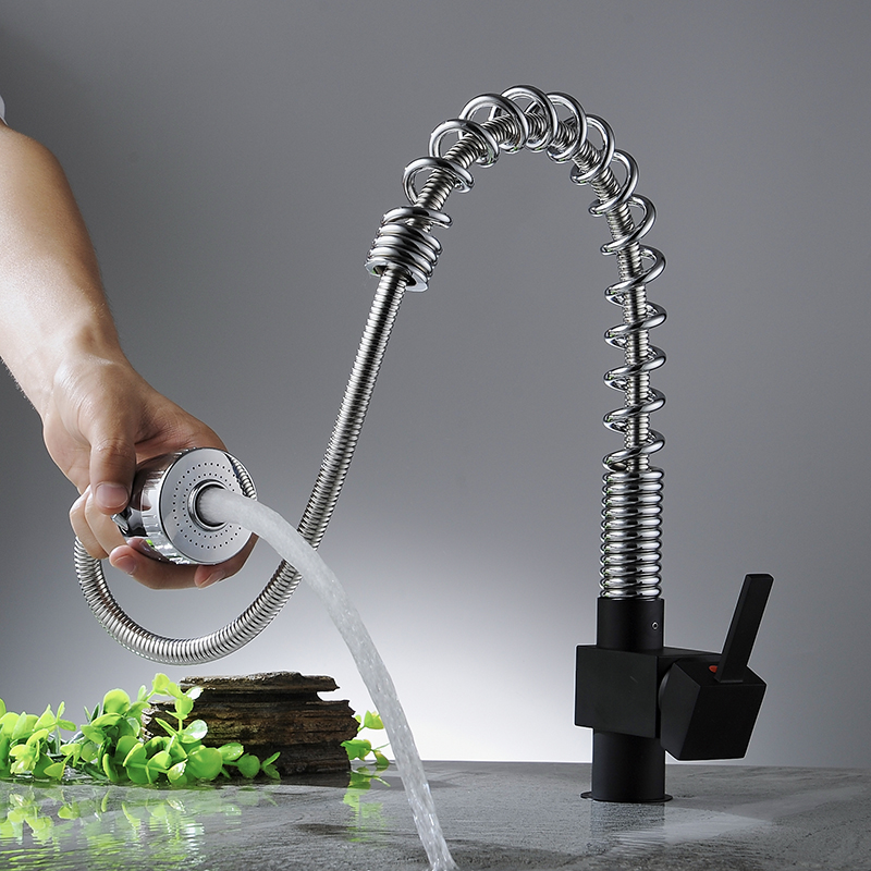 Kitchen Faucets Spring Pull Out Sprayer Tap Square Flexible Swivel Spout Chrome Faucet Brass Hot and Cold Vessel Crane YC-CL3010 led spout swivel spout kitchen faucet vessel sink mixer tap chrome finish solid brass free shipping hot sale