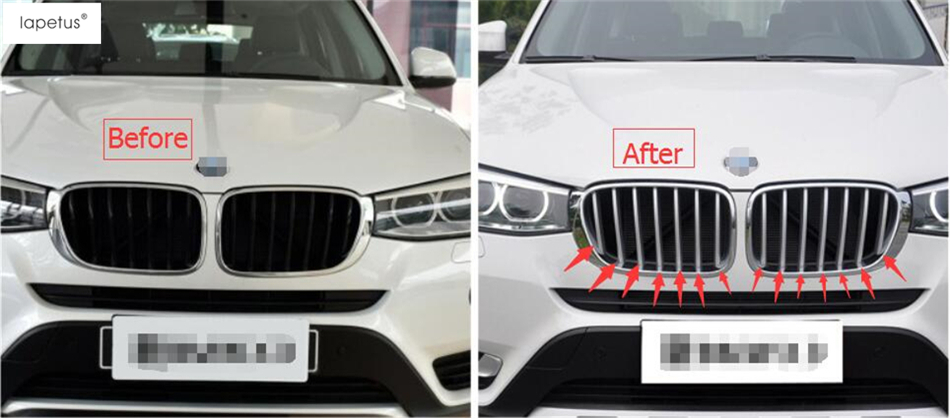 Accessories For BMW X3 F25 / X4 F26 2012 - 2017 Matte Style Front Head Grille Grill Lid Molding Cover Kit Trim A Set car styling stainless steel interior trim air conditioning cd control panel decoration cover for bmw x3 f25 x4 f26 accessories