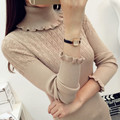 2017 Autumn Winter Women Knitted Sweaters and Pullovers Turtleneck Sexy Slim Solid Long Ruffled Sleeve Sudaderas Sueter Mujer