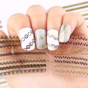 Image 2 - 24 Pcs Nail Stickers 3D Nail Art Sticker Decal Manicure Gold/Silver Stripe Love Heart Glitter Decorations For Nails Accessories