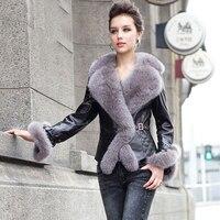 Reale Fur Coat Women 2017 Nuovo Inverno della pelle di Pecora del Cuoio Genuino giacca Con Grande Collare di Fox Della Cinghia Corta Slim Caldo Giù cappotti