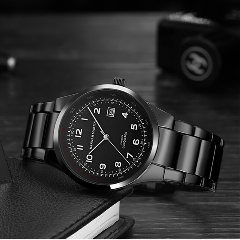 купить Hannah Martin Men's Watch Top Brand Luxury Wrist Watch Men Watch Auto Date Mens Watches Men Clock reloj hombre relogio masculino по цене 810.48 рублей