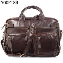 YOOFISH Multifunction real Genuine leather messenger bags business men bags men's briefcase shoulder laptop men's travel bag