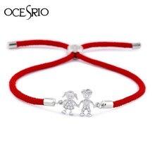 820b1a2d0d6c Pulsera Coreana de pareja de OCESRIO con circonita y cordón rojo para  parejas