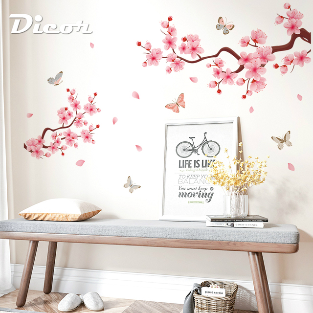 2019 New PVC Wall Stickers Pink Peach Blossom Chinese Style Decal For Home Interior Butterflies Wall Decor Romantic DIY Poster