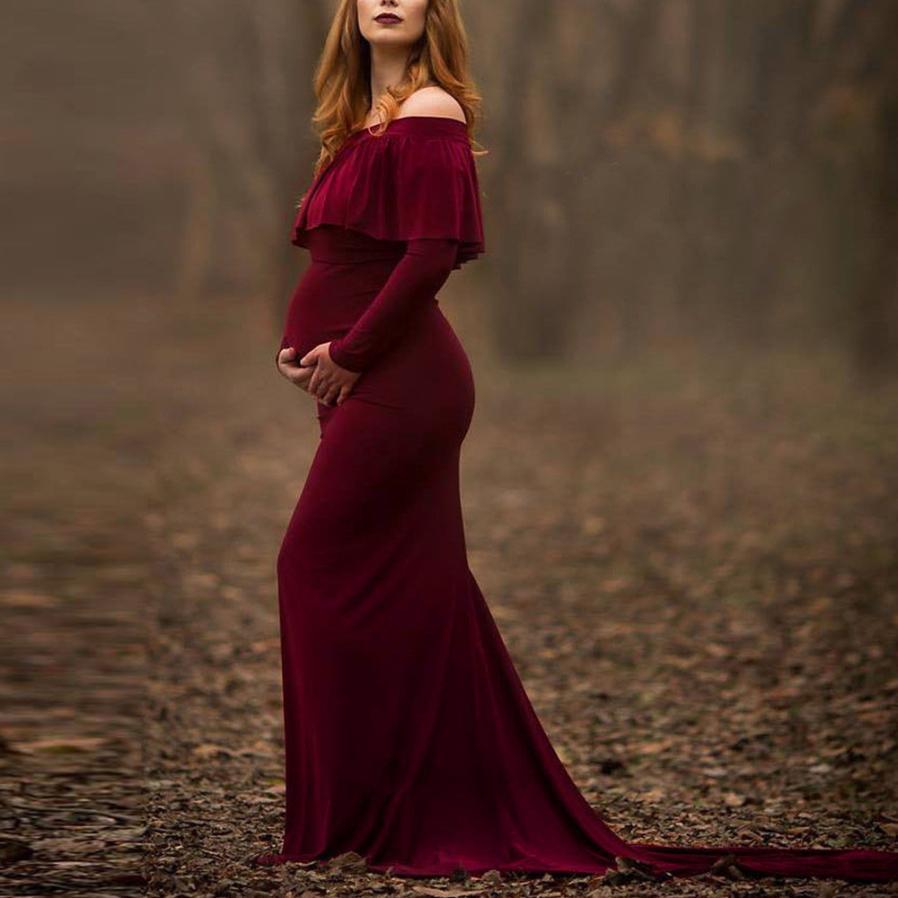 KANCOOLD dress new high quality Pregnant Sexy Photography Props Off Shoulders Ruffles Dress Nursing Long dress women feb8