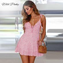 купить WildPinky Lace Up Ruffle Strap Summer Dress Women V neck Backless Short Boho Dress 2019 Streetwear Print Casual Dress Vestidos по цене 690.5 рублей