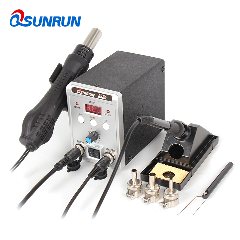 2-in-1 8586 SMD Soldering Station, Digital Display 8586D BGA Rework Solder Station Hot Air Gun + Electric Soldering Iron